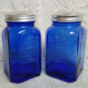 Coblat Blue Pressed Glass Salt Pepper Shakers